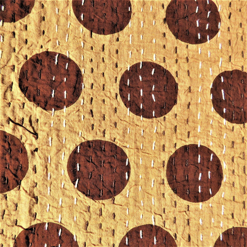 Brown Spotty Kantha Bed Cover & Throw - 31
