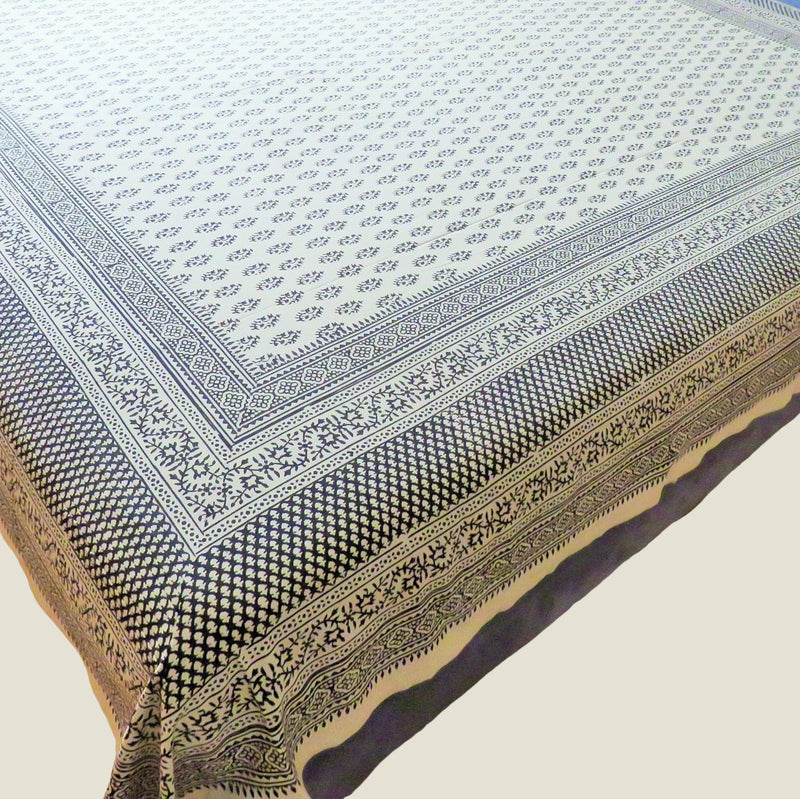 OMishka ethically handmade block print natural ecru patterned bed spread, cover and throw.