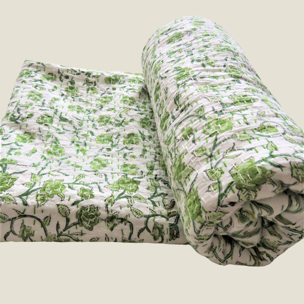 Green Floral Kantha Bed Cover & Throw - 30