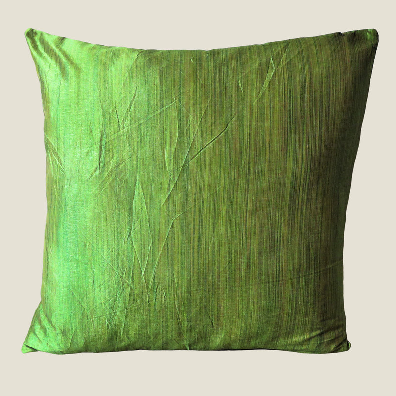 Green Vintage Silk Kantha Cushion Cover - 03