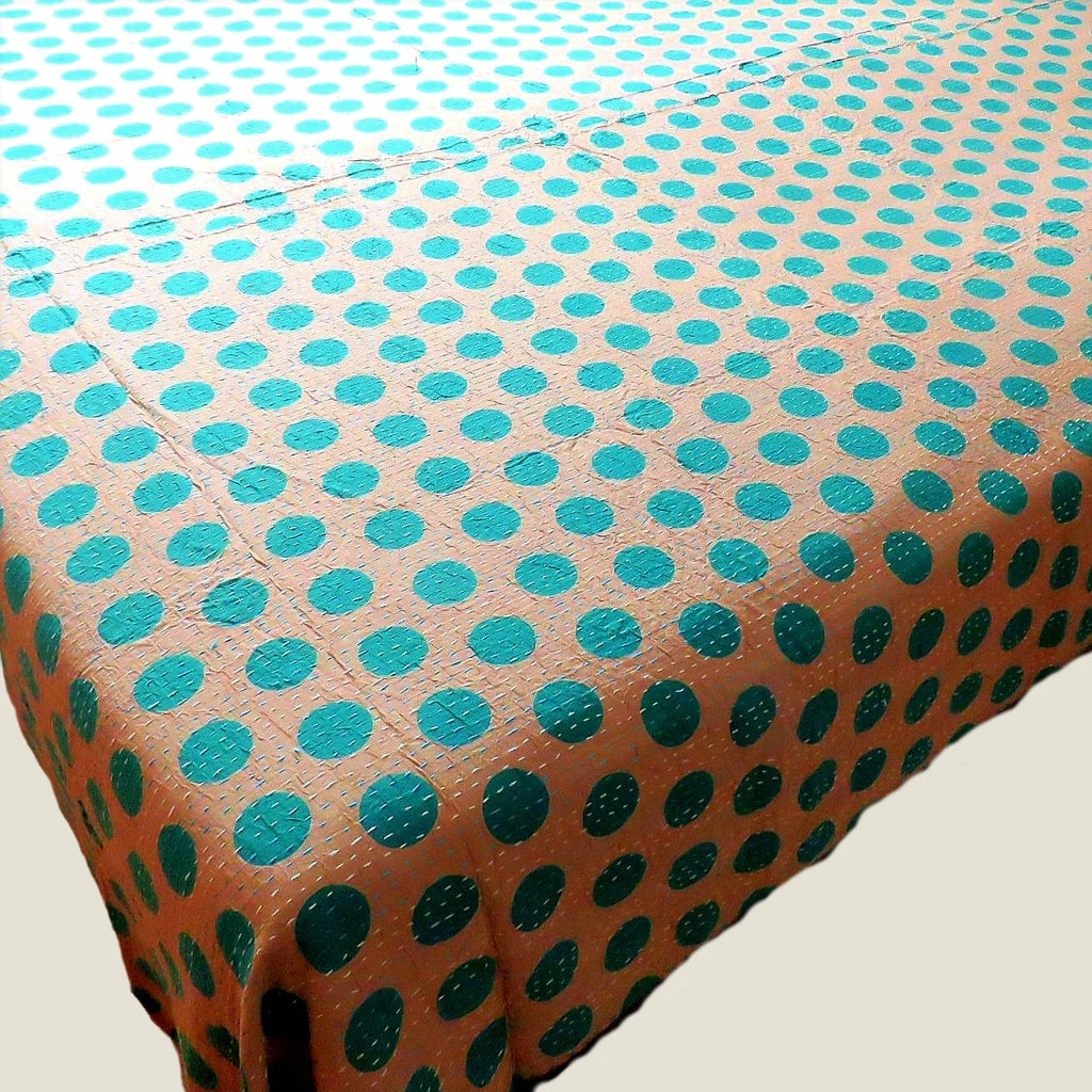 Green Spotty Kantha Bed Cover & Throw - 29