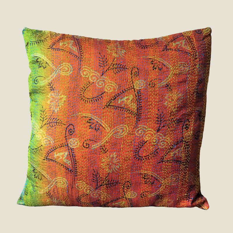 Orange Vintage Silk Kantha Cushion Cover - 02
