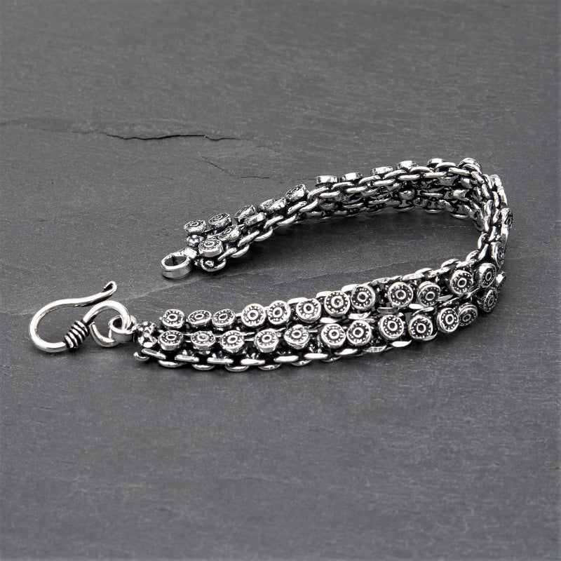 Handmade oxidised silver toned brass, decorative disc Banjara chainmail bracelet designed by OMishka.