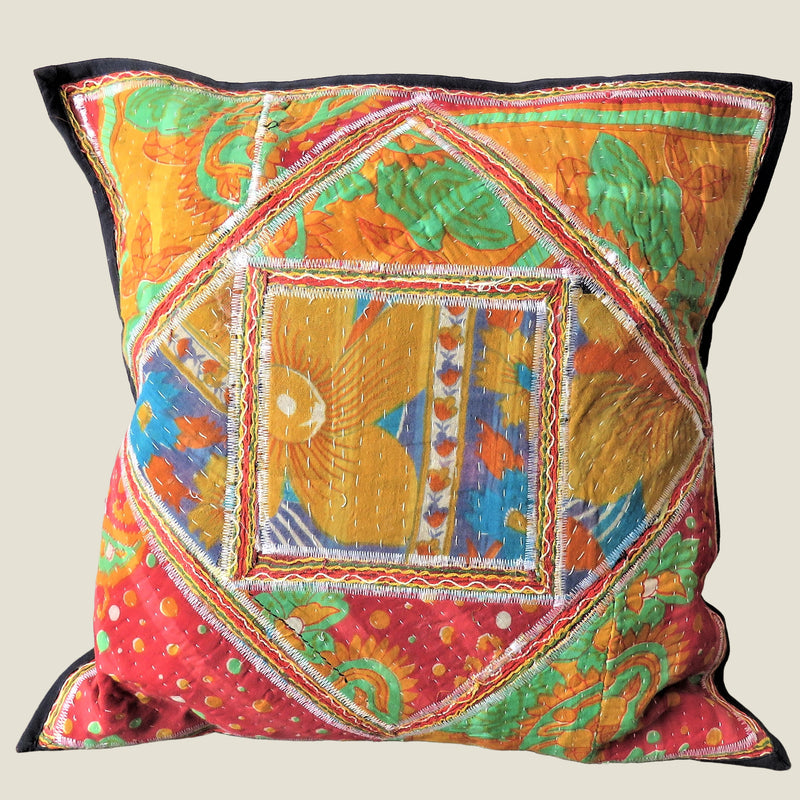 Recycled Square Patchwork Kantha Cushion Cover - 02