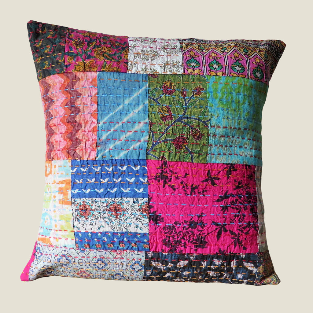 Recycled Patchwork Kantha Cushion Cover - 02