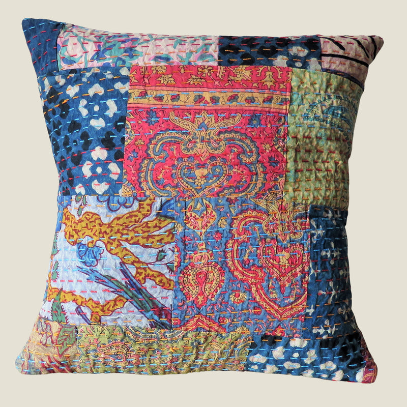 Recycled Patchwork Kantha Cushion Cover - 04
