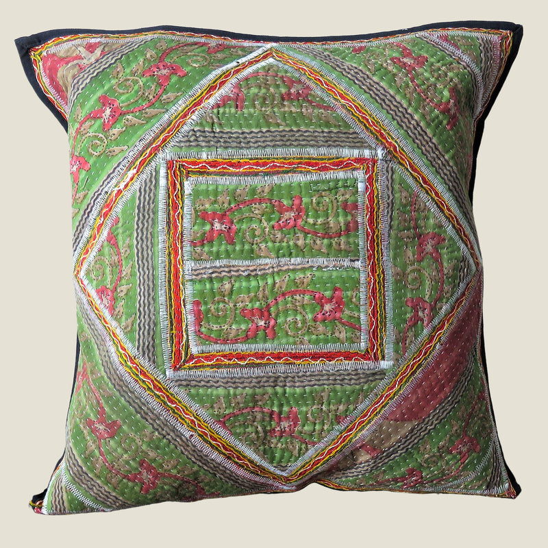 Recycled Square Patchwork Kantha Cushion Cover - 05