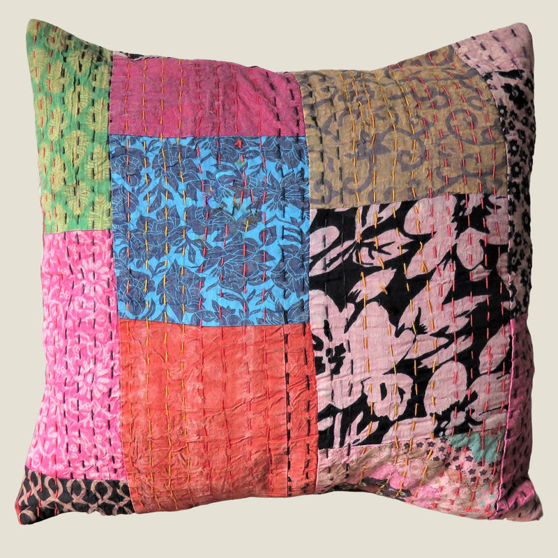 Recycled Patchwork Kantha Cushion Cover - 05