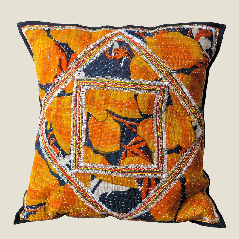 Recycled Square Patchwork Kantha Cushion Cover - 08