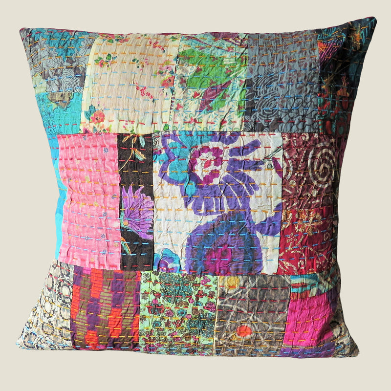 Recycled Patchwork Kantha Cushion Cover - 08