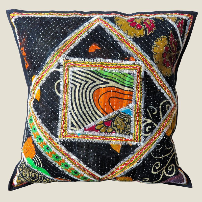 Recycled Square Patchwork Kantha Cushion Cover - 09