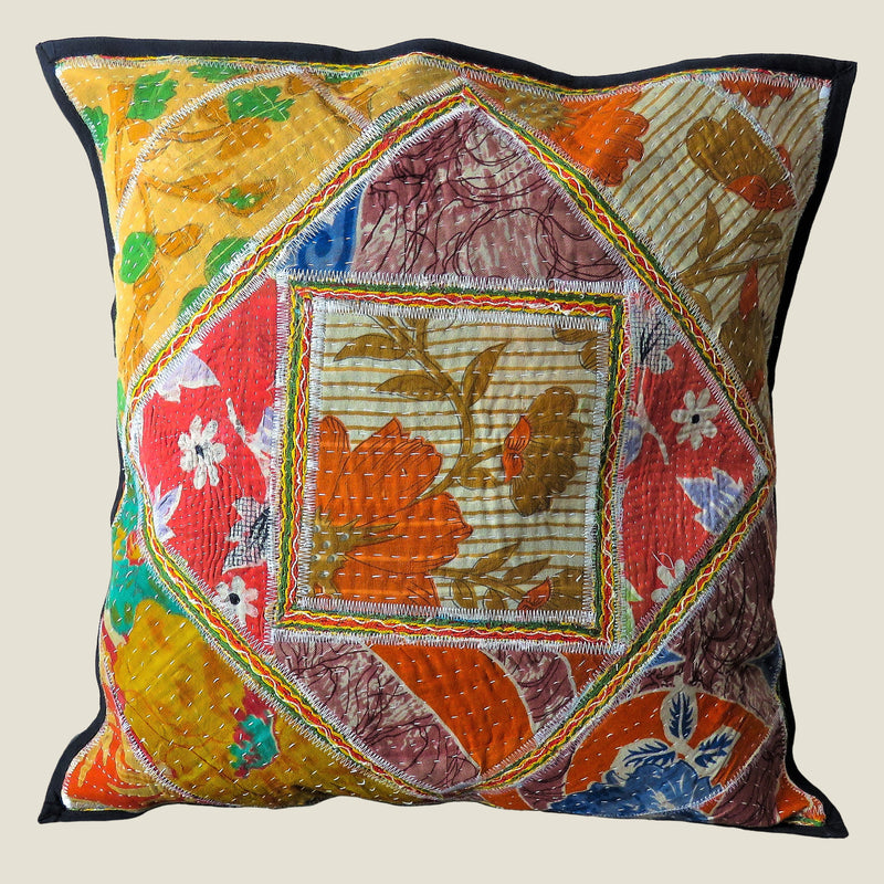 Recycled Square Patchwork Kantha Cushion Cover - 10