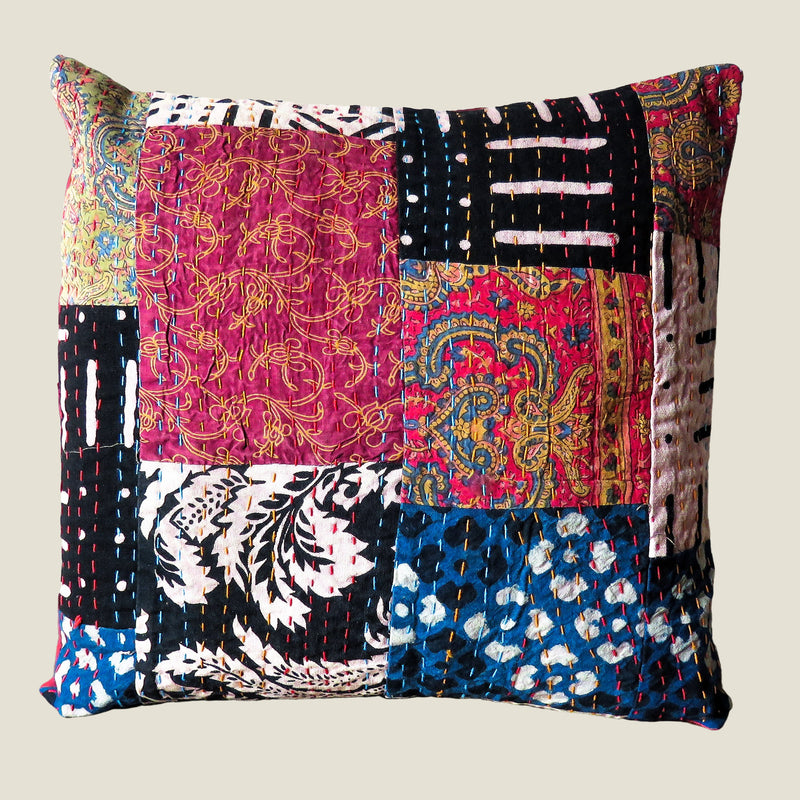 Recycled Patchwork Kantha Cushion Cover - 11