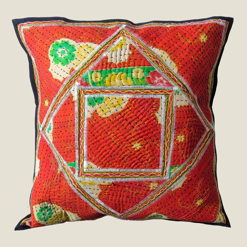Recycled Square Patchwork Kantha Cushion Cover - 11
