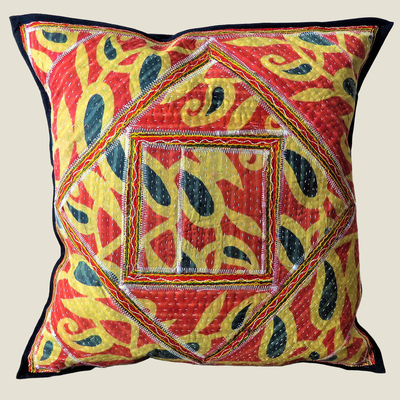 Recycled Square Patchwork Kantha Cushion Cover - 12
