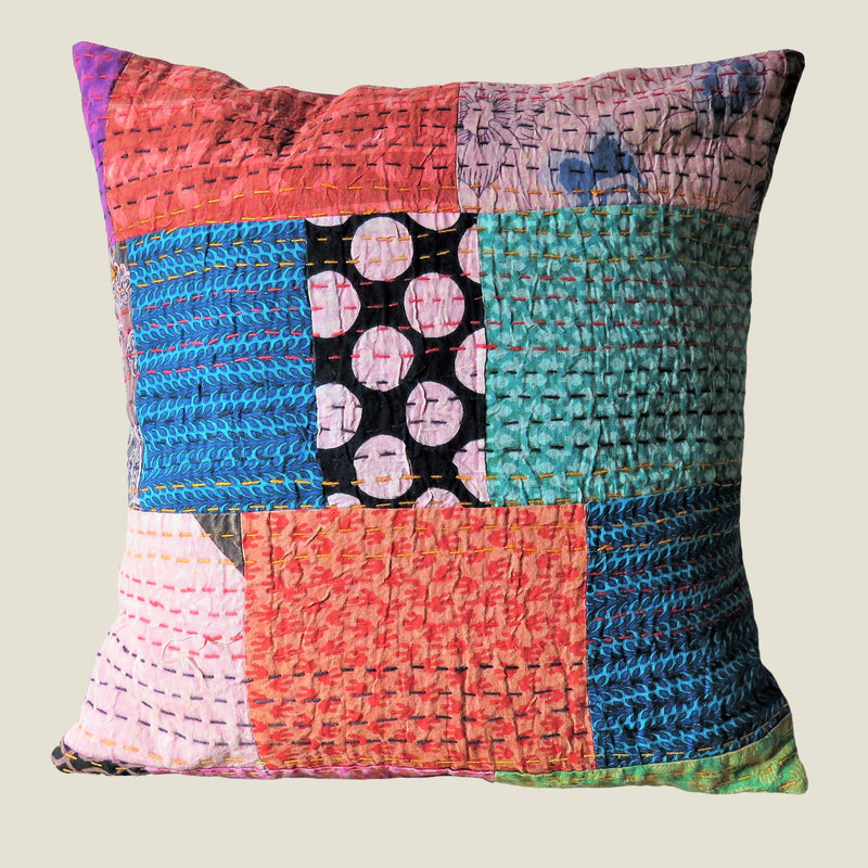 Recycled Patchwork Kantha Cushion Cover - 12