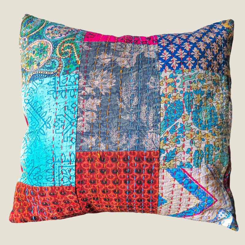 Recycled Patchwork Kantha Cushion Cover - 13