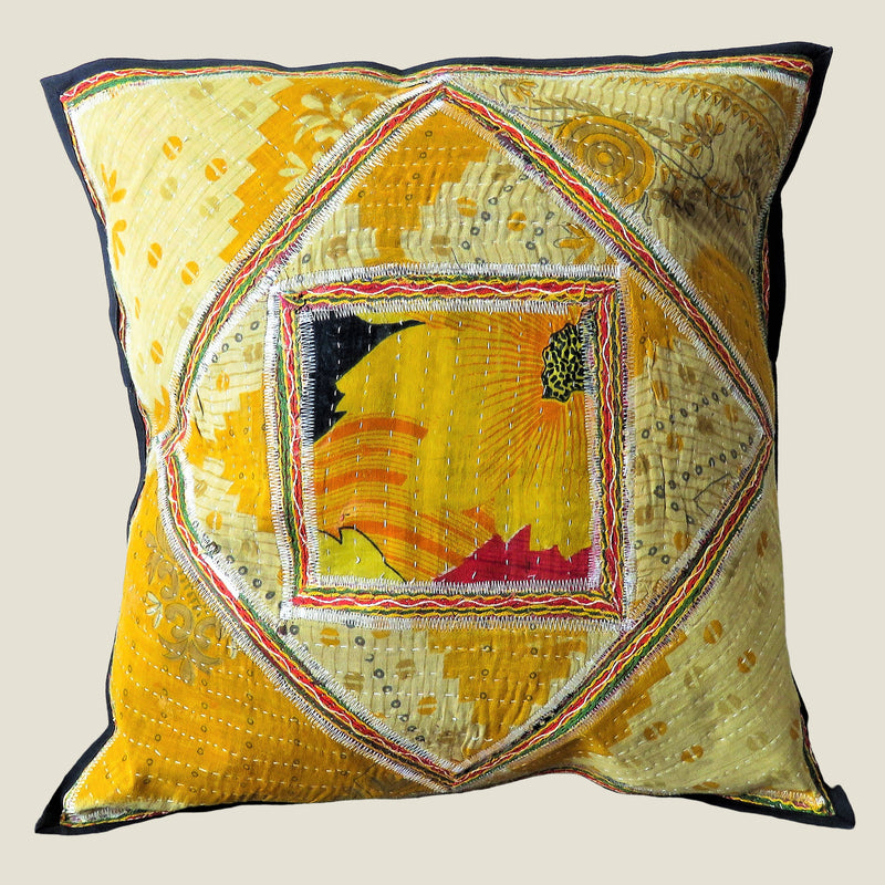 Recycled Square Patchwork Kantha Cushion Cover - 13