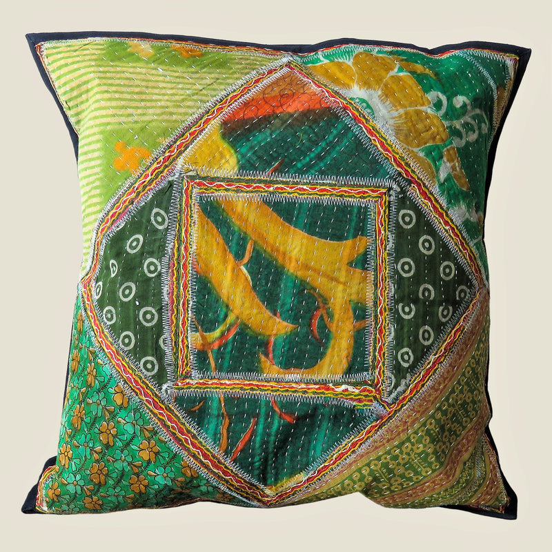 Recycled Square Patchwork Kantha Cushion Cover - 15