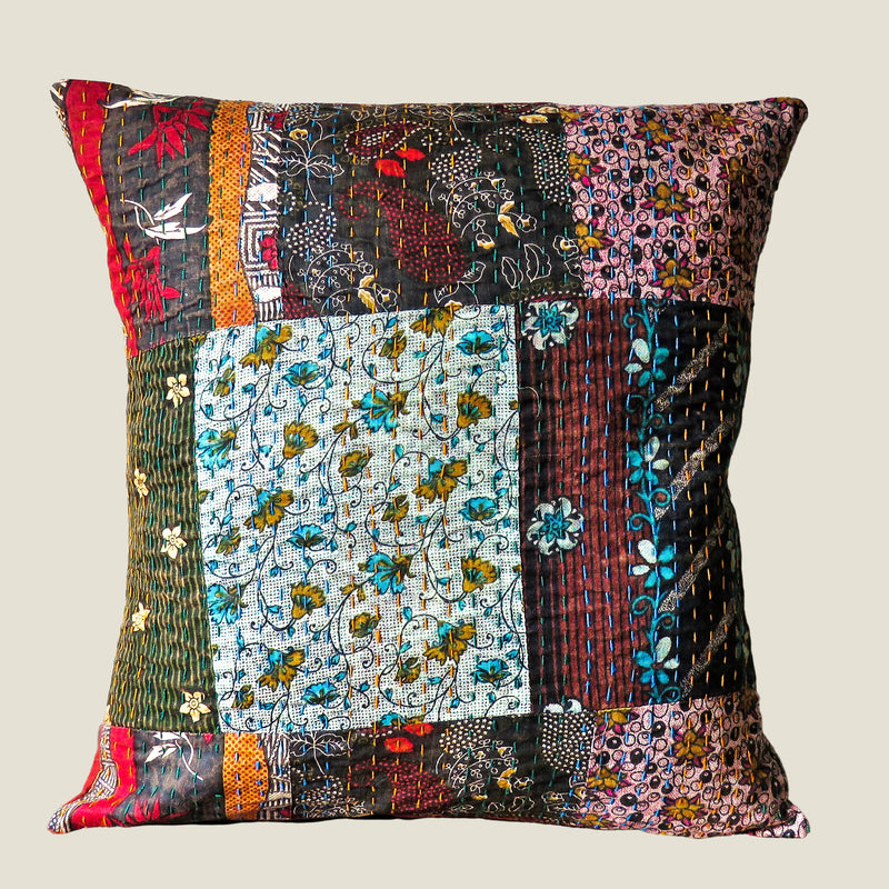 Recycled Patchwork Kantha Cushion Cover - 15