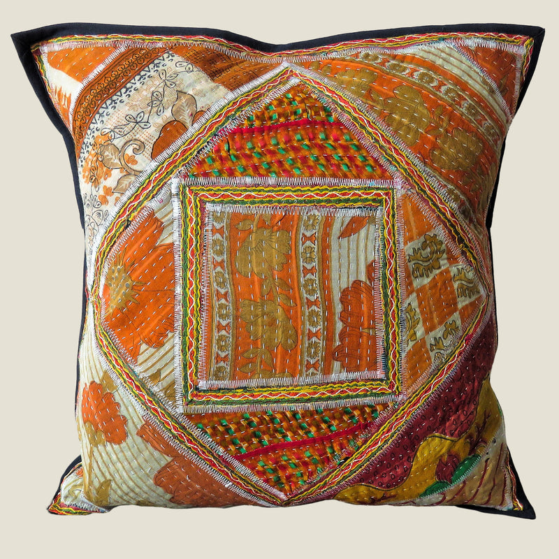 Recycled Square Patchwork Kantha Cushion Cover - 16