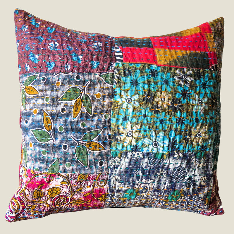 Recycled Patchwork Kantha Cushion Cover - 16