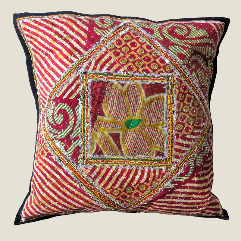Recycled Square Patchwork Kantha Cushion Cover - 17