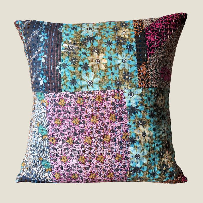 Recycled Patchwork Kantha Cushion Cover - 17
