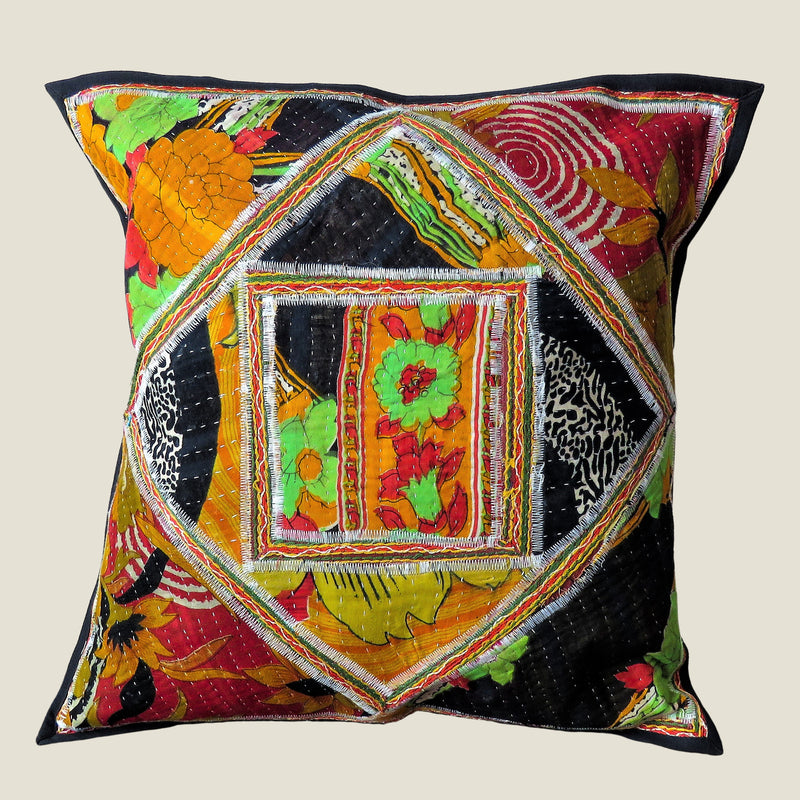Recycled Square Patchwork Kantha Cushion Cover - 19