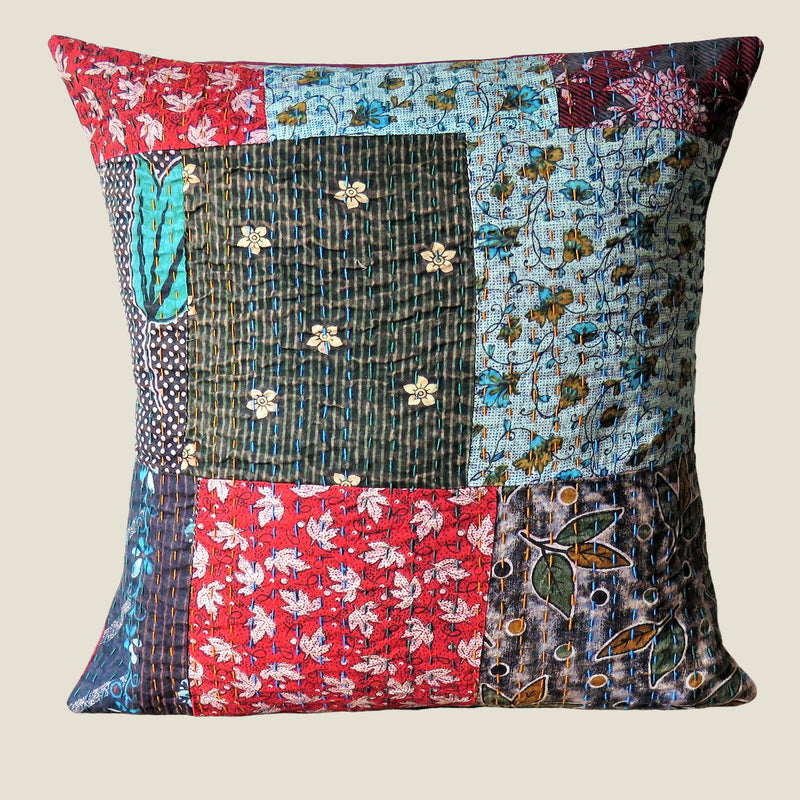 Recycled Patchwork Kantha Cushion Cover - 19