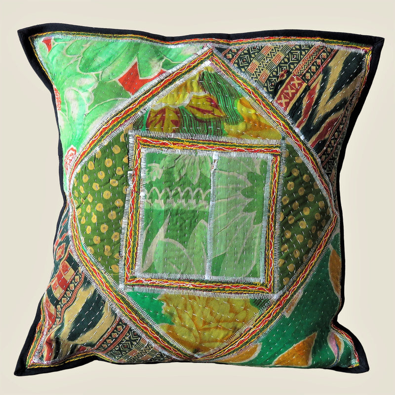 Recycled Square Patchwork Kantha Cushion Cover - 20