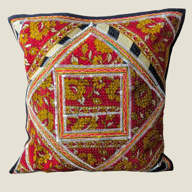 Recycled Square Patchwork Kantha Cushion Cover - 21
