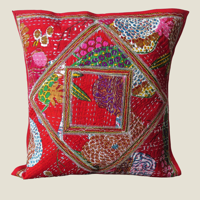 Recycled Square Patchwork Kantha Cushion Cover - 22