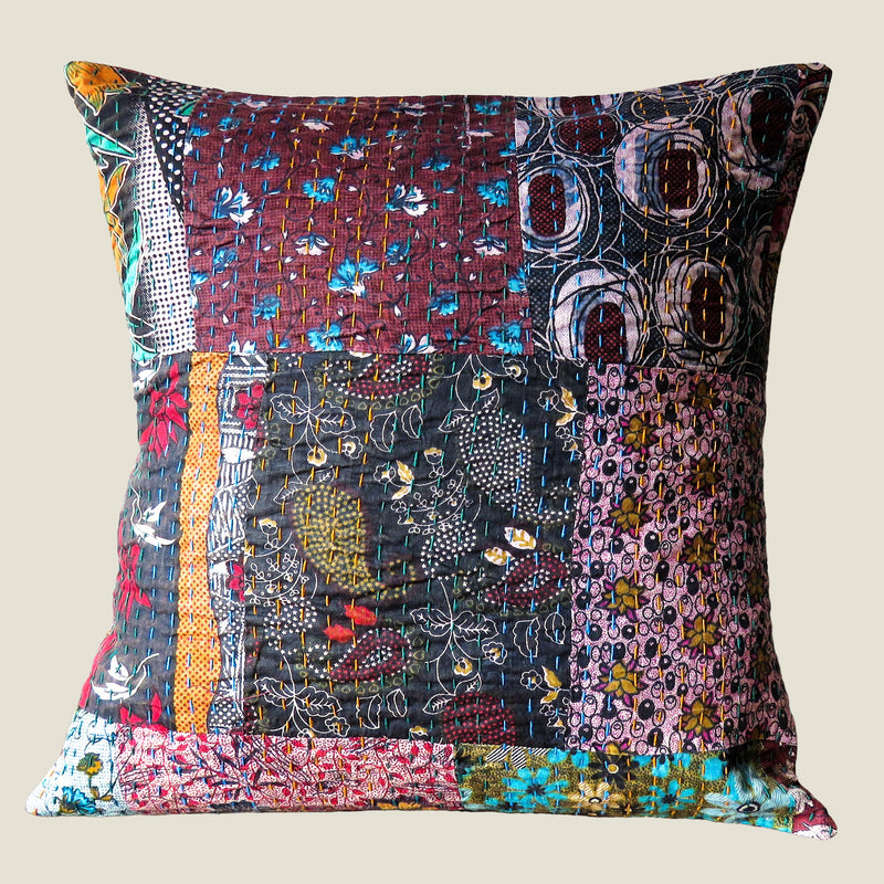 Recycled Patchwork Kantha Cushion Cover - 23