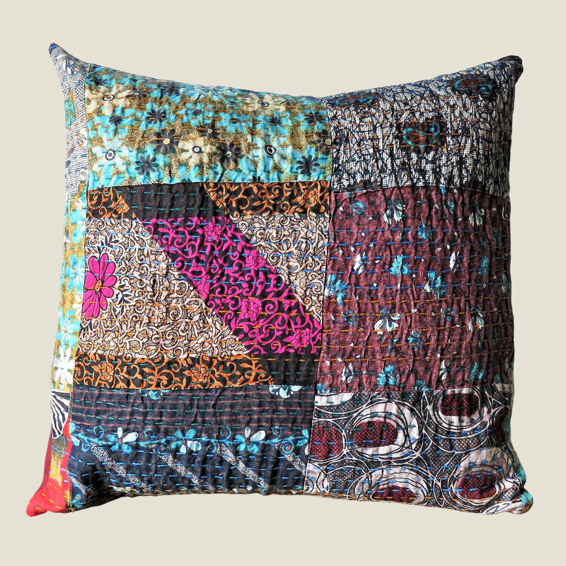Recycled Patchwork Kantha Cushion Cover - 24