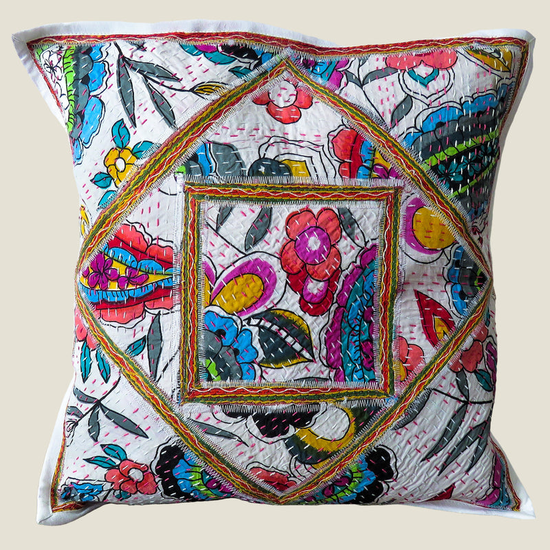 Recycled Square Patchwork Kantha Cushion Cover - 25