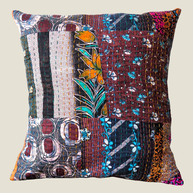 Recycled Patchwork Kantha Cushion Cover - 25