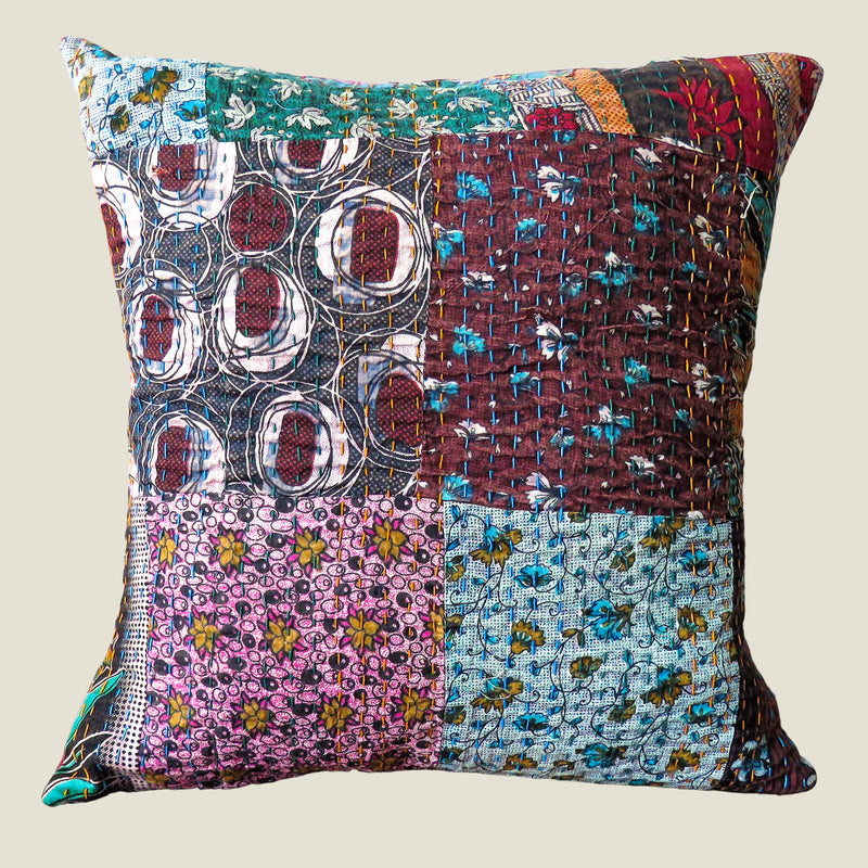 Recycled Patchwork Kantha Cushion Cover - 26