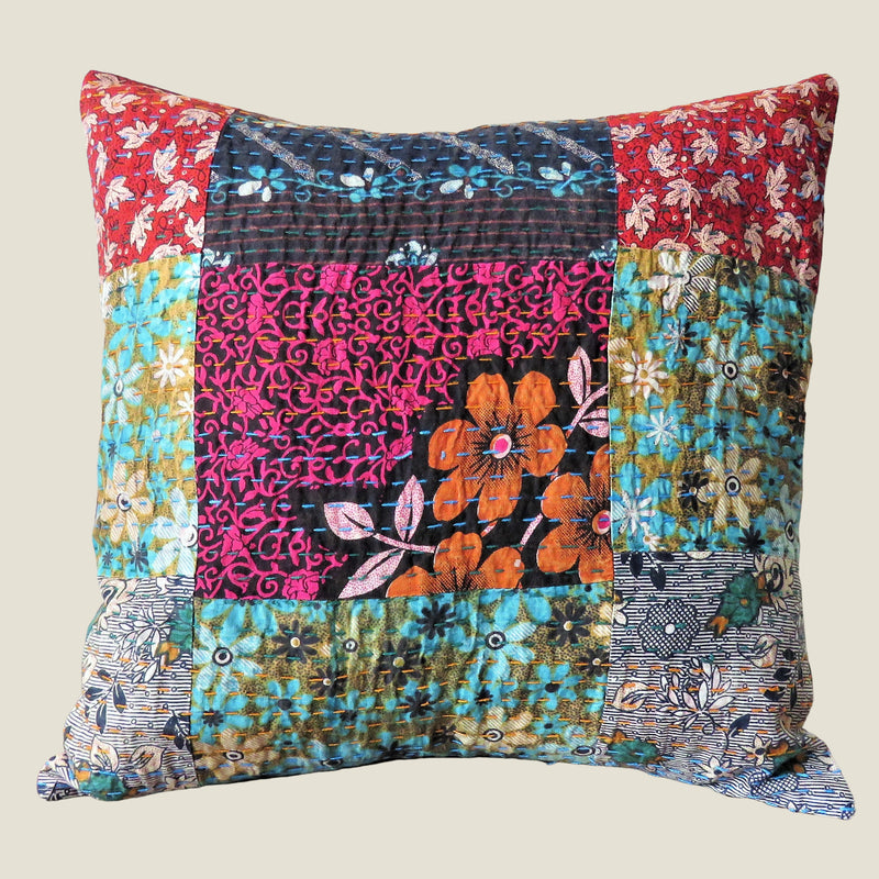 Recycled Patchwork Kantha Cushion Cover - 27