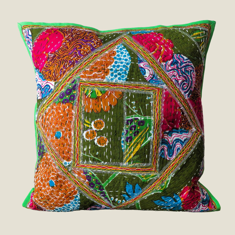 Recycled Square Patchwork Kantha Cushion Cover - 27