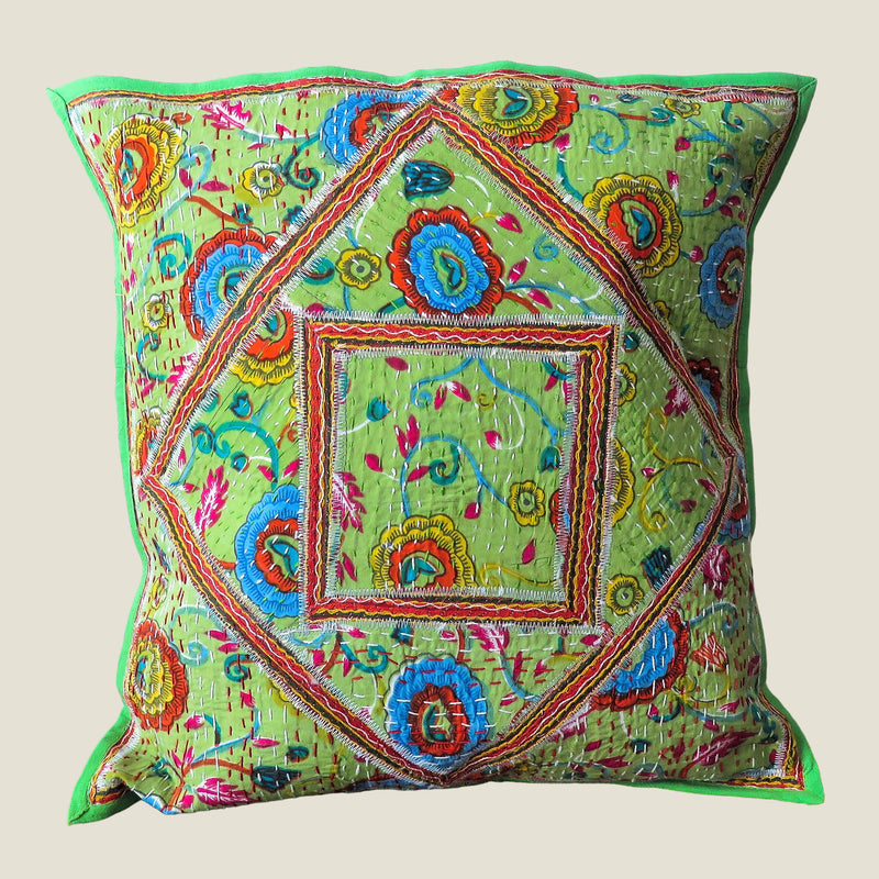Recycled Square Patchwork Kantha Cushion Cover - 28