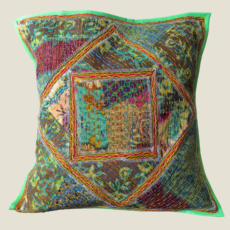Recycled Square Patchwork Kantha Cushion Cover - 29
