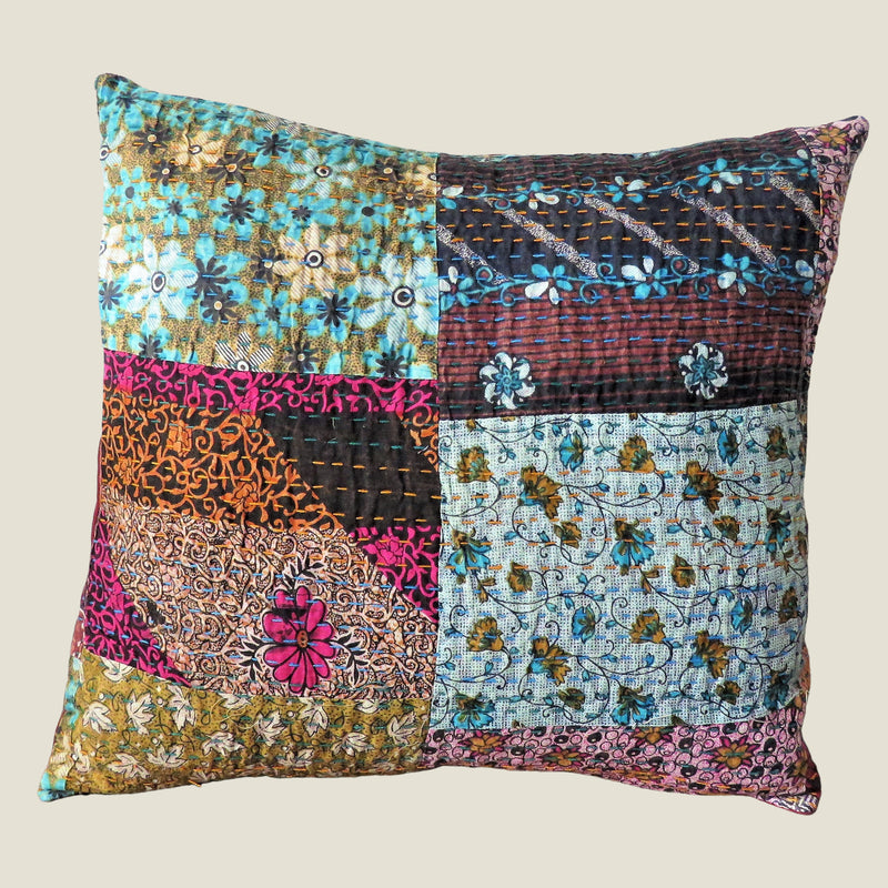 Recycled Patchwork Kantha Cushion Cover - 30