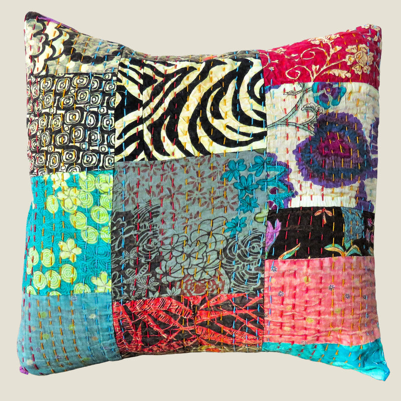 Recycled Patchwork Kantha Cushion Cover - 31