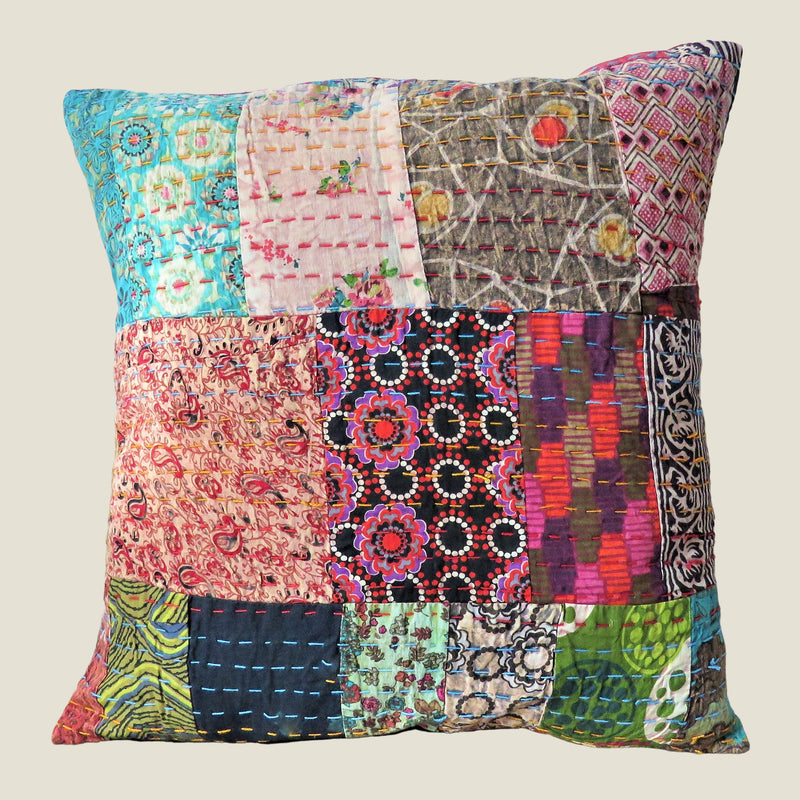 Recycled Patchwork Kantha Cushion Cover - 32