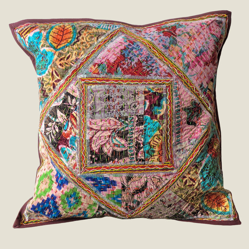 Recycled Square Patchwork Kantha Cushion Cover - 33