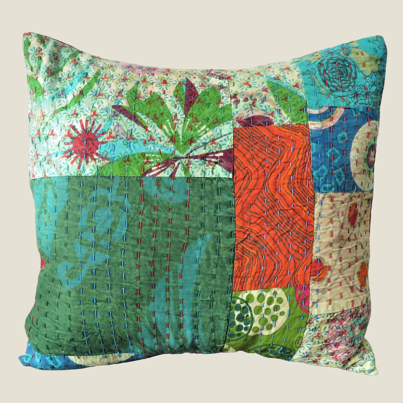 Recycled Patchwork Kantha Cushion Cover - 33