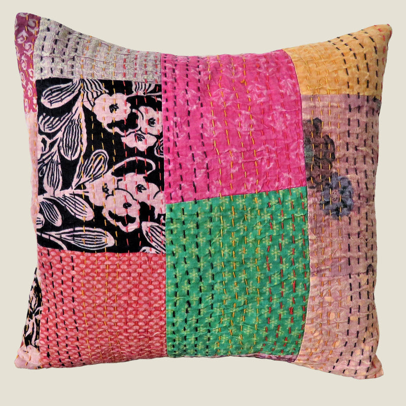 Recycled Patchwork Kantha Cushion Cover - 34