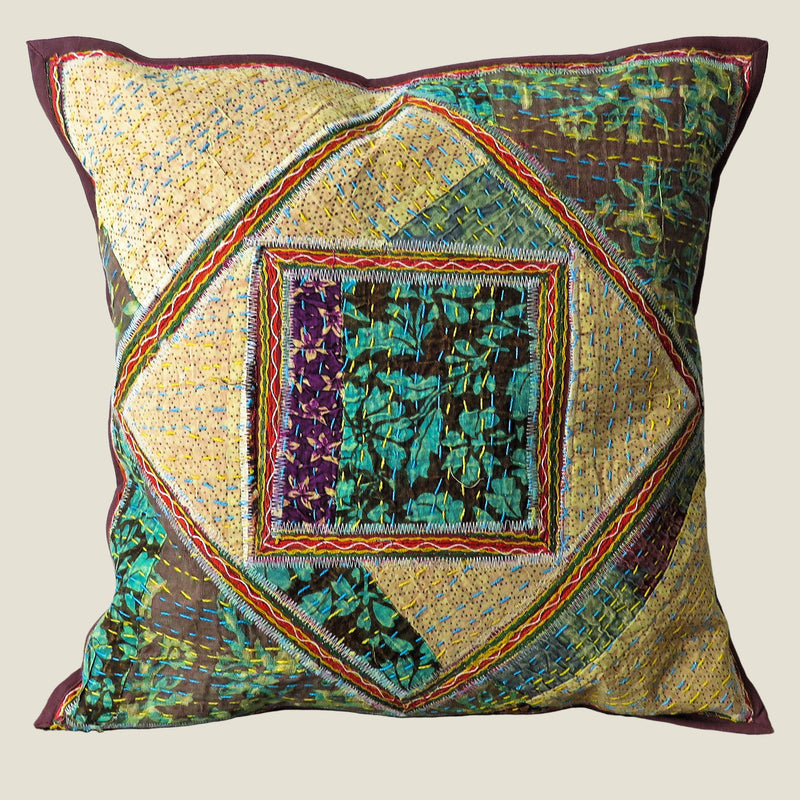 Recycled Square Patchwork Kantha Cushion Cover - 35