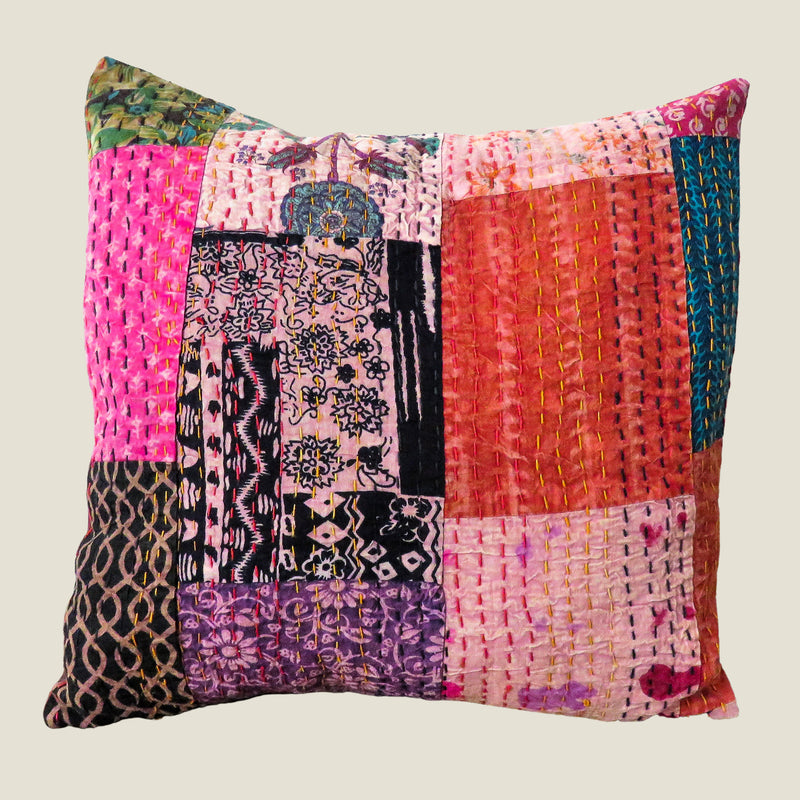 Recycled Patchwork Kantha Cushion Cover - 36